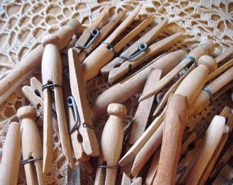 Lot of 30 Plus Vintage Wooden Clothespins Spring Clip Round Flat Head Wire Craft