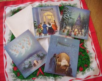 Four Beautiful Vintage Unused Christmas Carol Greeting Cards with Envelopes