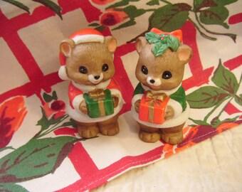 So Cute Vintage Teddy Bears Christmas Figurine Teddy Bear Couple by Lefton