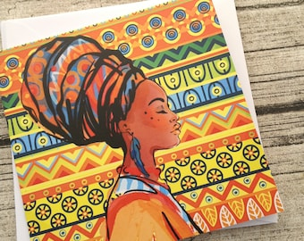 African stationery, African beauty greeting card, African woman, African girl greeting card, African invitation, African writing set