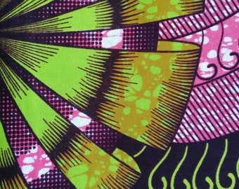 African wax print fabric BY THE YARD 100% cotton Pink African print, Green African wax print, African print, African wax, By the yard