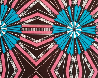 Blue / Pink wax Fabric-by-the-yard African wax print batik style fabric 100% cotton