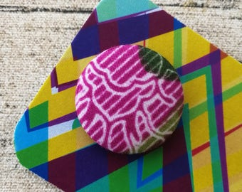 African badge, Button badge, Purple badge, Fabric badge, Waxprint badge, 1 inch badge, 1 inch button #104