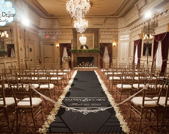 Aisle Runners, Wedding Aisle Runner, Custom Aisle Runner, Black Aisle Runner with Monogram on Quality Fabric that Won't Tear