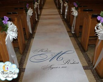 Aisle Runner, Wedding Aisle Runner, Custom Aisle Runner with Monogram on Quality Fabric that Won't Rip or Tear