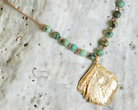 Heaven and Earth Necklace - African Turquoise - Gold Plated Feather Charm