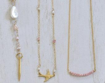 Pink Layering Necklaces - Dainty necklaces - Rhodochrosite necklace - sparrow necklace - rose quartz necklace - pink pearl necklace