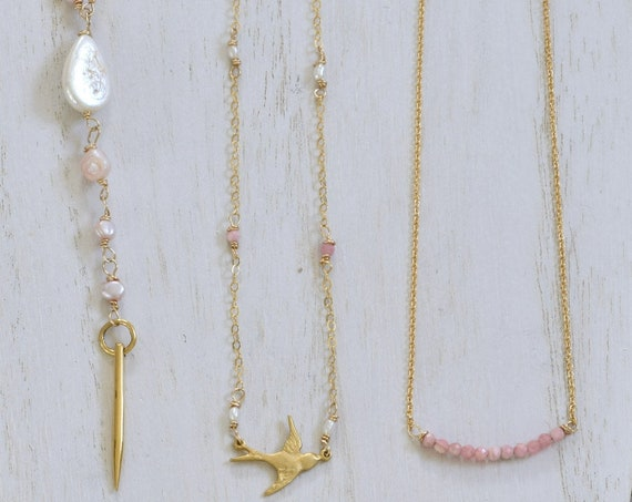 Pink Layering Necklaces - Dainty necklaces - Rhodochrosite necklace - sparrow necklace - rose quartz necklace - pink pearl necklace