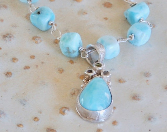 Gift for her - larimar - larimar jewelry - larimar necklace - Stars In the Sky Necklace - Larimar, White Topaz and Keishi Pearl Necklace
