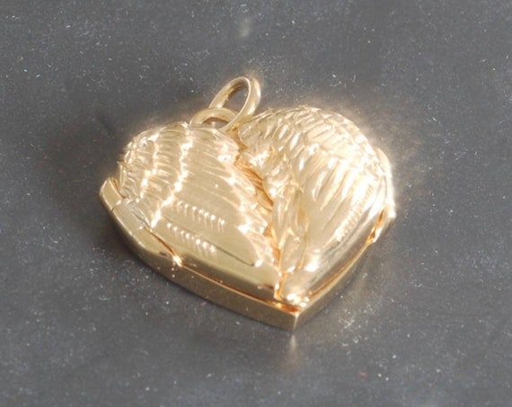 Gold Angel Wing Locket - Silver Angel Wing Locket - Valentine's Day Gift - Mother's Day Gift - Heart Locket - Fingerprint Jewelry -