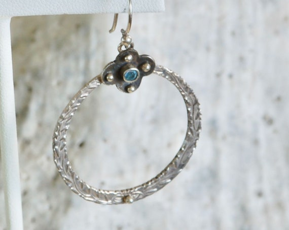 Clover & Vine Sterling Silver Earrings - Blue Topaz Earring