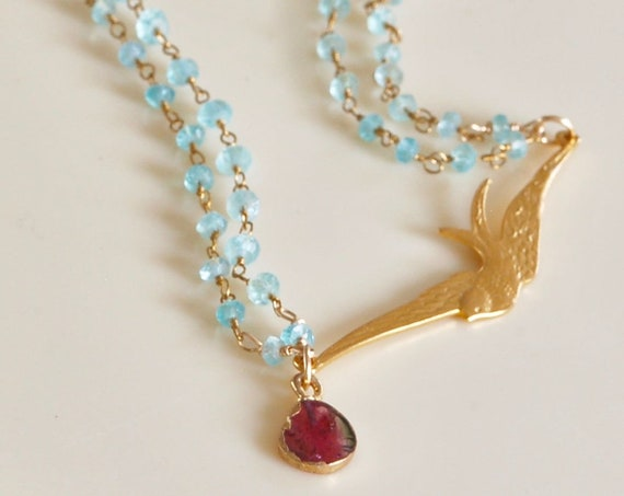 one of a kind jewelry - gift for mom - swallow necklace - bird jewelry - gold necklace - wing necklace - bird jewelry - colorful jewelry