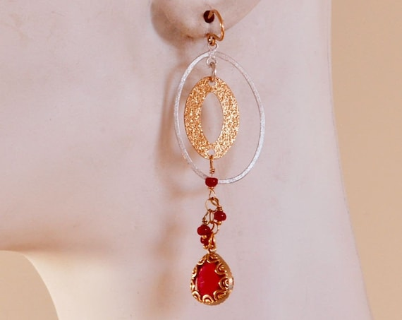 Two toned Ruby Drop earrings