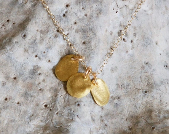 Itsy Bitsy 22k gold Finger print charm necklace - Fingerprint necklace - 22k gold necklace - multiple charms - family charms