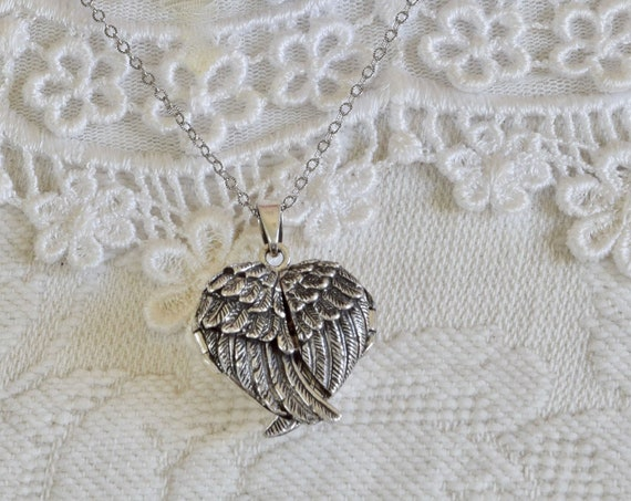 Custom gift for her - mom gift - Silver Locket - Heart Locket - Angel wing locket - sterling silver locket -  unique sympathy gift