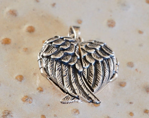 Angel Wing Locket - Valentine's Day Gift - Mother's Day Gift - Heart Locket - Fingerprint Jewelry - Overlapping Wings