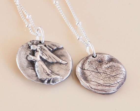 Fingerprint Remembrance Necklace - An Angel with Gratitude Necklace