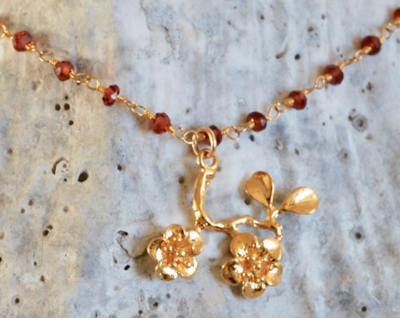 Refresh, Renew, Cherry Blossom Necklace - Garnet Necklace in Gold - Gold Cherry Blossom