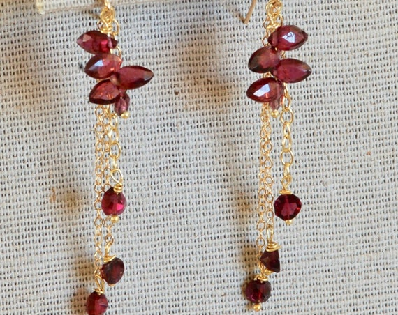 Party Time Dangly Garnet Earrings