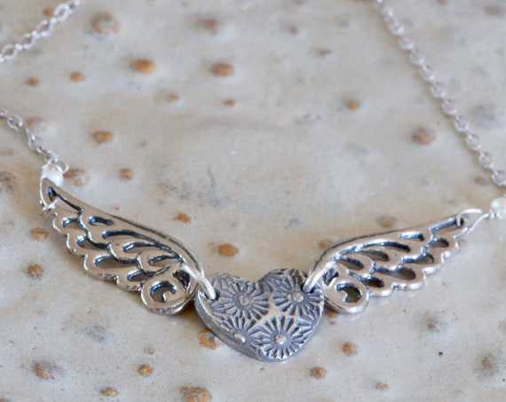 Fingerprint Jewelry - Silver heart and Silver Angel Wings Necklace - keepsake jewelry