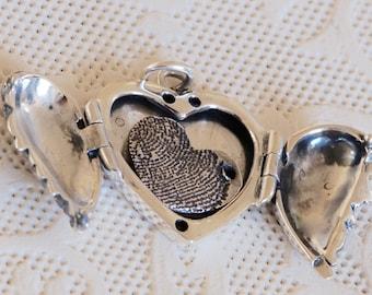 Angel Wing Locket - Valentine's Day Gift - Mother's Day Gift - Heart Locket - Fingerprint Jewelry