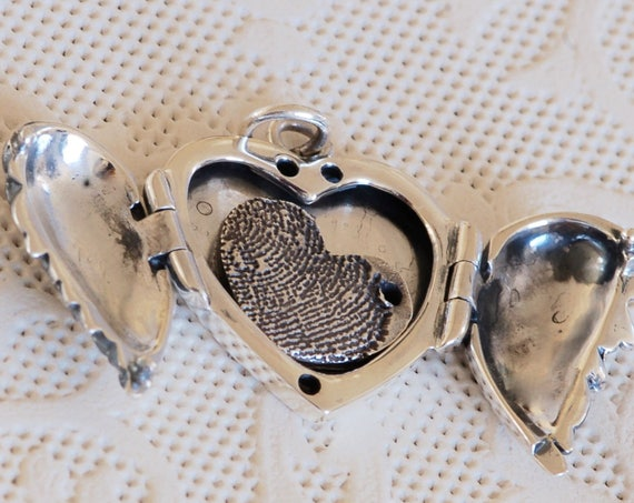 Valentines Day Locket - Angel Wing Locket - Mother's Day Gift - Heart Locket - Fingerprint Jewelry