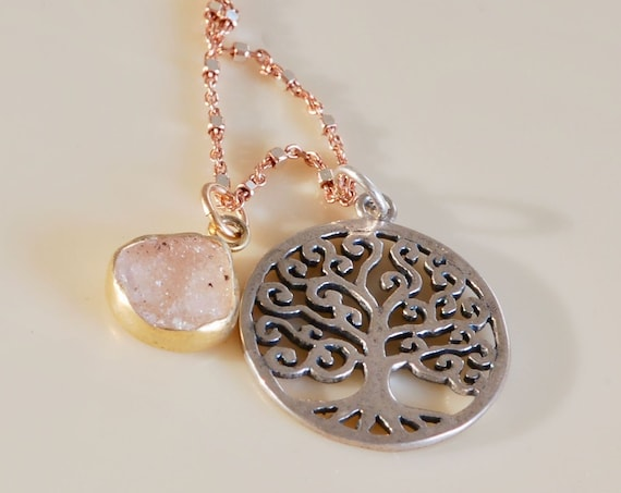 Tree of Life Silver and Rose Gold Necklace with Pale Pink Druzy