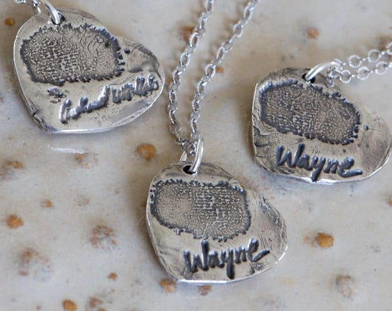 Actual Handwriting - Remembrance Jewelry - Fingerprint Jewelry - Angel Wing Heart Pendant