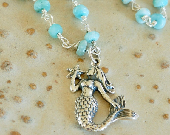 Sterling Silver Mermaid on Larimar Necklace