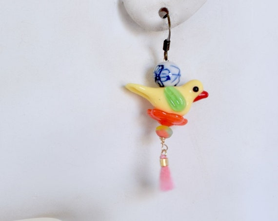 Pop of Color - Bird Earring - Whimsical Jewelry - colorful jewelry - dangle earrings - drop earrings - glass jewelry - eclectic jewelry