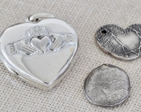 Claddagh Locket - Sterling silver fingerprint necklace - Silver claddagh heart necklace - celtic necklace - fingerprint necklace - heart