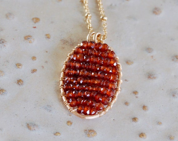 Boho Garnet Necklace - Garnet and gold Wire wrapped necklace - Garnet Necklace