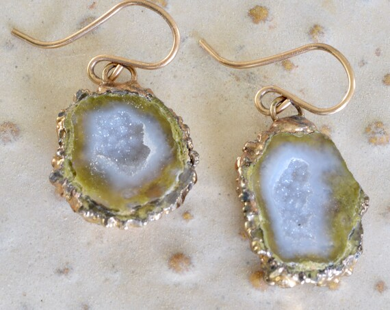 Druzy Earring - Druzy Jewelry - Chunky Earring - semi precious earring - beach jewelry - zen jewelry - organic jewelry - dangle earring