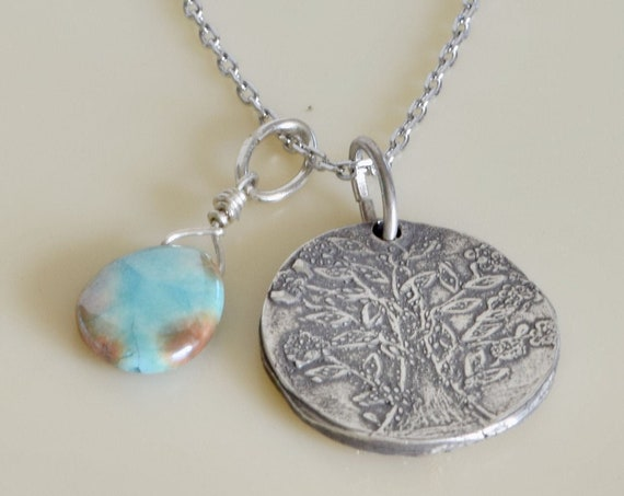 Tree of Life Necklace - Fingerprint Jewelry - custom memorial gift - handmade silver gift - strength necklace -  dainty necklace