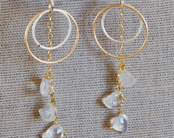 Ice Quartz Mixed Metal Earrings