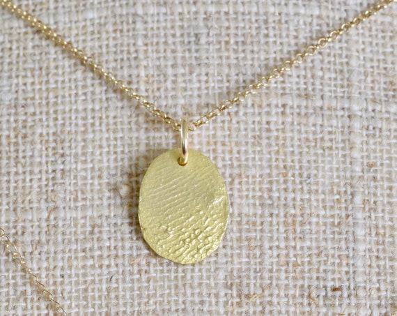 Dainty Gold Necklace - Sympathy Gift  - grief gift  - 22k gold Finger print charm necklace - Fingerprint necklace - 22k gold necklace
