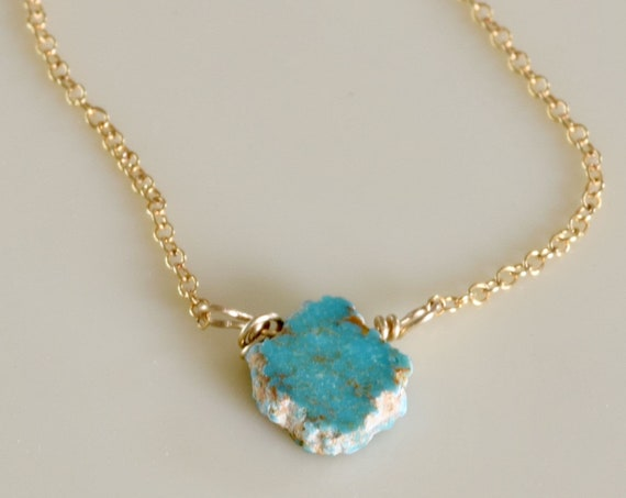 Dainty Necklace - gold and turquoise necklace - turquoise necklace - layering necklace - slice of turquoise - semi precious necklace - blue