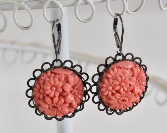 Coral Earring - Floral Vintage Cabachon Earring - floral bouquet earring - orange earring - round earring - colorful earring - retro earring