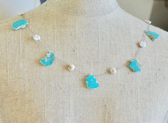 Floating Clouds Necklace - Turquoise and Shiva Eye Shell Necklace