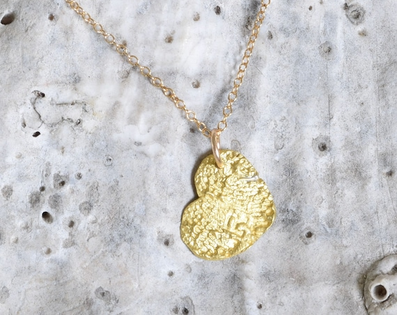 Love Necklace - Tiny Gold Fingerprint Heart charm - tiny 22k gold charm - fingerprint jewelry - anniversary gift - affordable gift