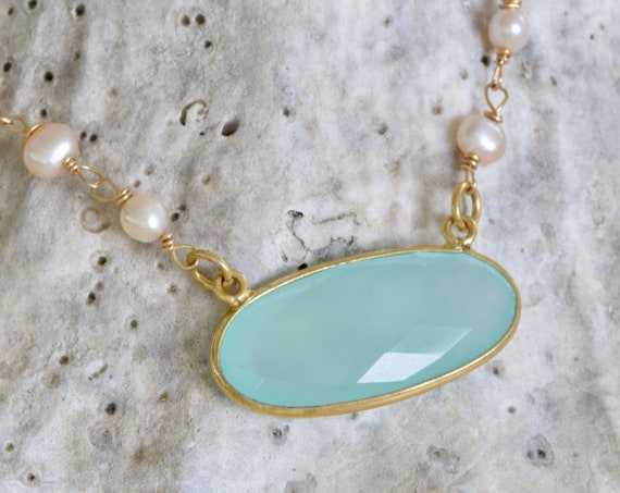 Sea Green Chalcedony Necklace - Ocean color necklace - Chalcedony necklace - pearl and paua shell necklace - green and pink necklace