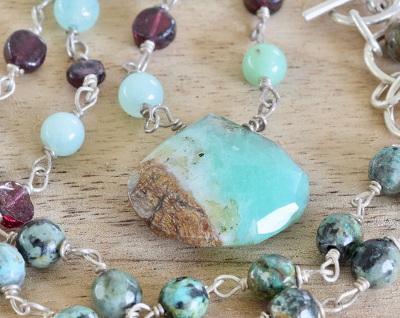 African Chrysoprase and Garnet necklace - chrysoprase necklace - green and red necklace - turquoise and garnet necklace - teardrop necklace