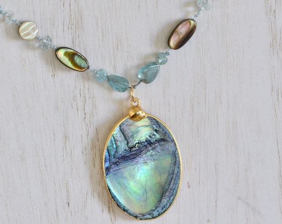 Abalone Pendant Necklace - apatite necklace - paua shell necklace - hand knotted necklace - blue necklace - beach necklace - statement