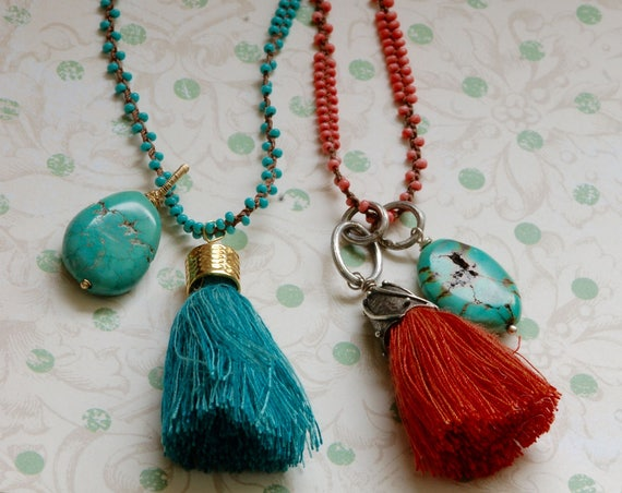 Coral Boho Tassel Necklace with Turquoise drop - 34 inch necklace