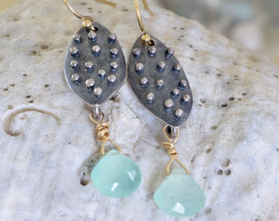 Chalcedony Earrings - mixed metal earring - dangle earring - sea green earring - dot earrings - shield earring - beachy earring