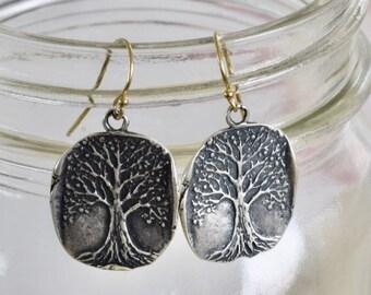 Tree of Life Earring - tree earring - silver tree earring - roots earring - mixed metal earring - handmade earring - organic earring - root