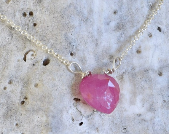 Ruby Necklace - Pink Necklace - Heart Shape Pendant - Semi Precious Stone Necklace - Dainty Necklace - Layering Necklace - Simple Necklace