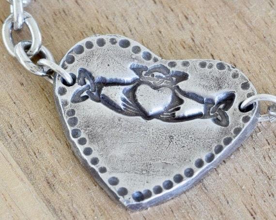 Fingerprint Bracelet - Claddagh bracelet - heart bracelet - celtic bracelet - irish symbol - personalized bracelet - friendship, loyalty