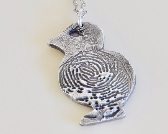My Little Chickadee - fine silver fingerprint chick charm - chick charm - Easter gift - memorial gift - mommy charm - chick charm - chick