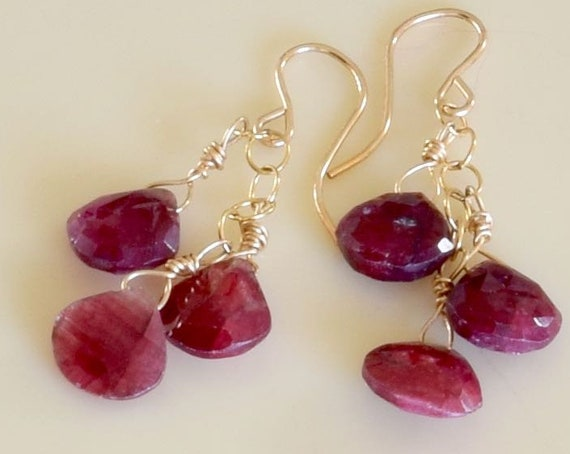 Ruby Earrings - Ruby dangle earrings - one of a kind jewelry- mothers day jewelry - red earrings - drop earrings - teardrop earrings